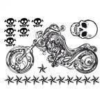 Samolepka na textil,zažehlovací, 21x30 cm, MOTO et TETES  motorka a ozdoby
