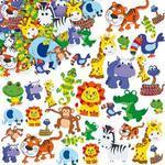 Pěnové samolepky - Zvířatka z džungle, 96 ks