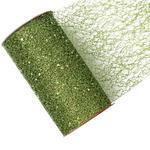 Dekorační stuha s glittrem -síť 15cmx2,7m / světle zelená