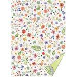 Karton A4, 220 g/m2  bílý-zelený - květy