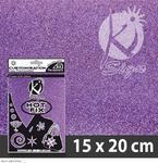 Nažehlovací fólie HOT FIX 15x20 cm glitrová - fialová světlá
