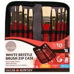Daler & Rowney Simply White Bristle Brush - Sada štětců, 10 ks v pouzdře na zip