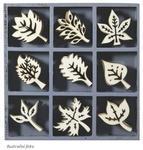 Dřevěné ozdoby v boxu 45ks - listy