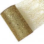 Dekorační stuha s glittrem -síť 15cmx2,7m / zlatá