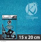 Nažehlovací fólie HOT FIX 15x20 cm glitrová - modrá