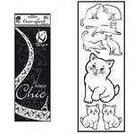 Samolepka na textil zažehlovací sametová  10x30 cm - CHATS  kočky
