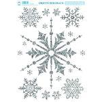 Vánoční adhezní nálepky na okna 25x35cm - s glitry, Vločky - různé vel.