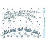 Vánoční adhezní nálepky na okna 25x35cm - s glitry, Velká kometa