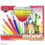 Trojhranné pastelky Triocolor silné - 24 ks lakované