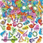 Pěnové samolepky - Hudební nástroje, 100 ks