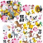 Mosgumové samolepky - Zvířátka z farmy, 96ks