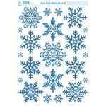 Vánoční adhezní nálepky na okna 25x35cm - barevné glitry, Vločky