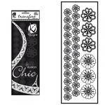 Samolepka na textil zažehlovací sametová  10x30 cm - FLEURS CROCHET  květiny