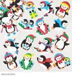 Pěnové samolepky - Vánoční tučňáci 40 motivů, 120 ks