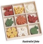 Filcové ozdoby 22 mm v boxu 45 ks - Motýli a třešně