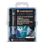 Sada stínovacích fixů Chameleon Color Tops - Modré tóny, 5ks