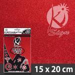 Nažehlovací fólie Hot-fix 15x20cm glitrová - červená