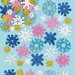Pěnové samolepky třpytivé - Sněhové vločky 120 ks