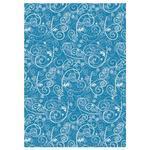 Hedvábný papír 50x70 cm, 20 g/m2, 5 listů - Ornamenty modrý