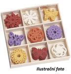 Filcové ozdoby 22 mm v boxu 45 ks - motýlci