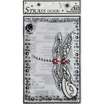 Samolepka na textil zažehlovací štrasová  7,5x10,5 cm  LIBELLULE - vážka