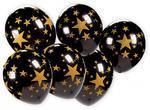 Balónek černý se zlatými hvězdami - 7 ks v balení