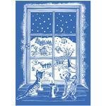 Vánoční adhezní nálepky na okna 25x35cm, Pes a kočka u okna