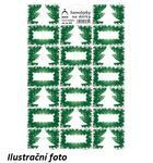 Vánoční samolepky na dárky Stromky - zelené
