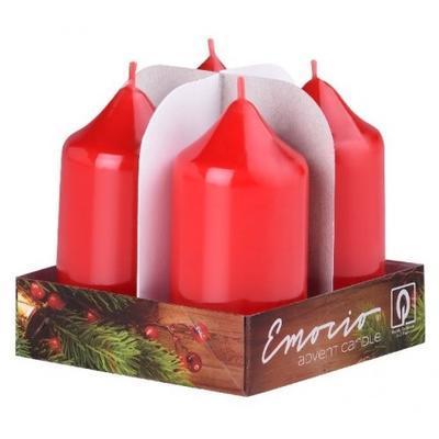 Svíčky válec 4ks, 40x75mm - Lak červené