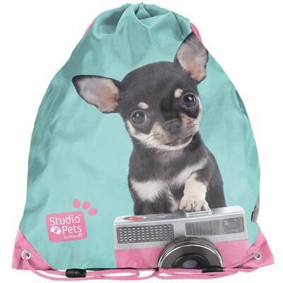 Sáček na přezůvky - pes a fotoaparát
