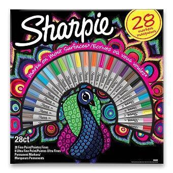 Permanentní popisovač Sharpie Fine + Ultra Fine Peacock - sada 28 barev - 1