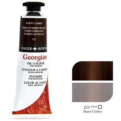 Daler & Rowney Georgian Oil 38ml - Burnt Umber 223, olejová barva - 1