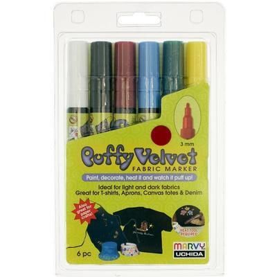 Marvy Popisovač na textil - základní barvy, 6ks