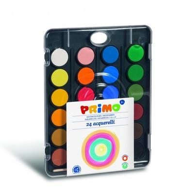 Vodové barvy PRIMO BLACK, průměr 30 mm, 24ks + štětec - 1