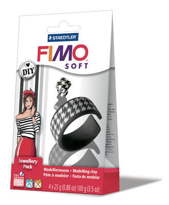 Fimo Soft DIY Šperková sada Černá a bílá, 4 ks