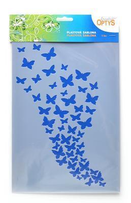 Šablona plastová 30x20cm - Motýlkové hejno - 1