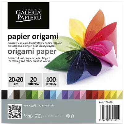 Origami barevný papír 20x20 cm, 20 barev - 100 ks