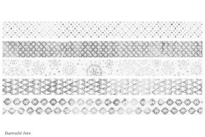 """Samolepící páska """"Mini"""" 12 mm x 3 m - lesklá stříbrná, 5ks - 1"""