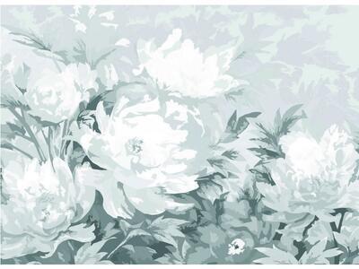 Předkreslená šepsovaná lepenka 100% bavlna 30x40 cm / PEONIES