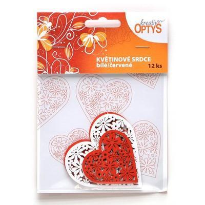Výřez - Květinové srdce, bílé/červené, 12 ks - 1