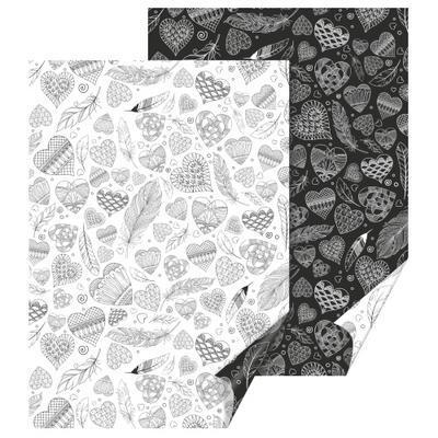 Fotokarton 50x70 cm, 300 g/m2 - srdce bílý/černý