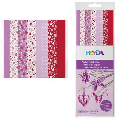 Proužek papírový 30cm, 8motivů (lila, růžový, červený)