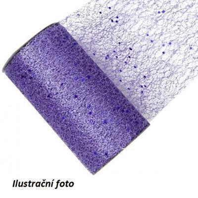 Dekorační stuha - síť s glitrem 15cm x 2,7m /fialová/