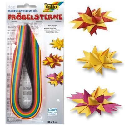 Dekorační papírové proužky pro výrobu hvězd - 35x1cm, 100ks - 1