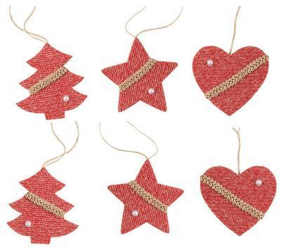 Závěs 6 ks 60 mm / Srdce, hvězda,stromek,mix pletený