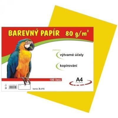 Barevný papír A4, balení 100listů, 80g/m2 - žlutý