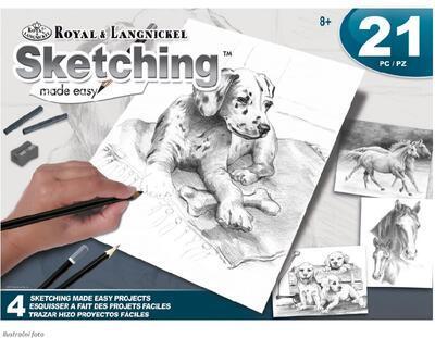 Sketching Made Easy Dog&Horses - sada na skicování dle předlohy - 1