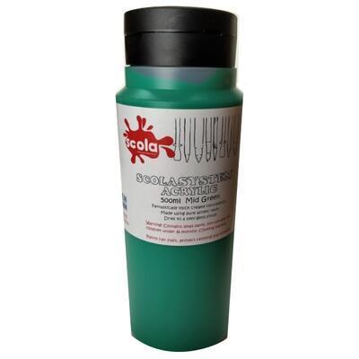 Scolasystem Akrylová barva 500ml - střední zelená