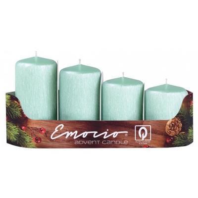 Svíčky adventní Stupně 4ks průměr 40mm - Drápané růžové mátové