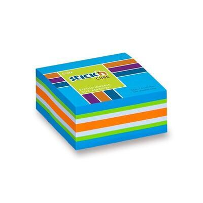 Samolepicí bloček Stick'n kostka 51x51 mm, 250 listů, neon modrý